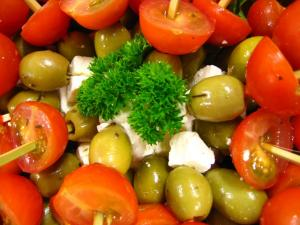 Spiesje olijf, feta en cherry
